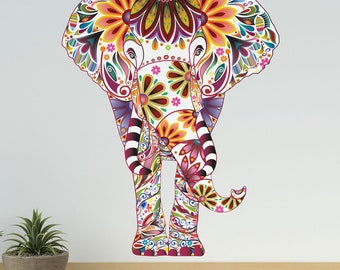 Colorful Elephant Wall Decal - Vibrant Floral Pattern - Easy Peel and Stick Fabric Elephant Wall Sticker