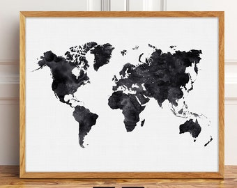 Large wall map etsy extra large world map black and white poster printable world map print black gumiabroncs Gallery