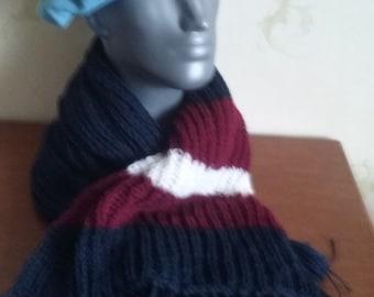 Scarf, warm scarf, knitted scarf, handmade scarf, navy blue  scarf,  neck warmer