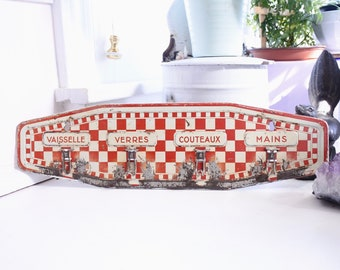 French Antique Towel Rack, Kitchen Decor, Red and White Painted Toleware, 1900-1920's, Housewarming, French Country
