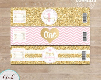 Pink and Gold Water Bottle Label, Gold Glitter 1st Birthday, ONE, first, bottle wrappers, party supplies, Birthday Party, INSTANT Download