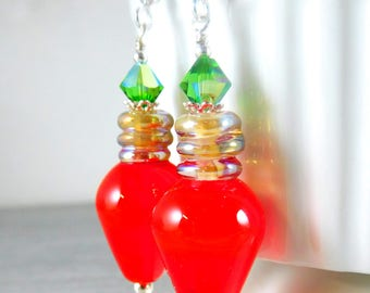 Red Christmas Light Bulb Dangle Earrings, Christmas Jewelry, Red Green Whimsical Holiday Earrings, Lampwork, Christmas Jewelry
