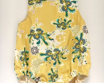 baby romper- romper- spring romper- Yellow Baby Romper- Easter outfit -Sunsuit-  boho baby clothes- girl birthday outfit, floral romper