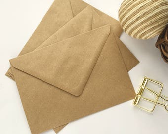 """25 A7 5x7 Envelopes Kraft Ribbed recycled Rustic envelopes US A7 for wedding invitations card making supplies 5.1/4x7.1/4"""" 133x184mm"""