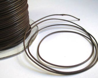 5 m thread cord chocolate brown polyester waxed 1 mm