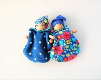 Spring Basket Gift Baby Dolls- Set Of Two - Bendable Arms and Legs -Unique Gift - Waldorf Style - Baby Gnome Blue - Polkadots