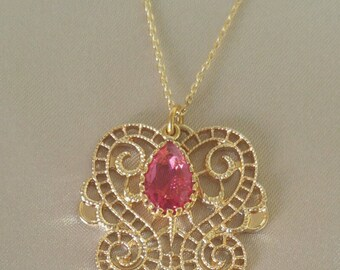 """Gold Filigree Necklace with Briolette Jewel Teardrop - Ruby Red ,on 18"""" Gold Plated Chain,Valentine Gift,Chain Size 16"""" & 20"""" also available"""