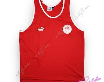 Red Vintage Olympiacos F.C. Puma soccer jersey Greek Size Medium