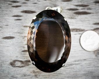 Smoky Quartz Pendant - Large Smoky Quartz Necklace - Quartz Pendant - Smoky Quartz Jewelry - Quartz - Sterling Silver and Smoky Quartz