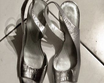 "High heels, leather Silver ""Nine West"", open, size 39, US 7.5"