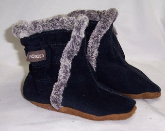 Baby booties navy suede baby boots leather booties, for baby boy boots,warm boots for winter, baby boots , handmade winter boots