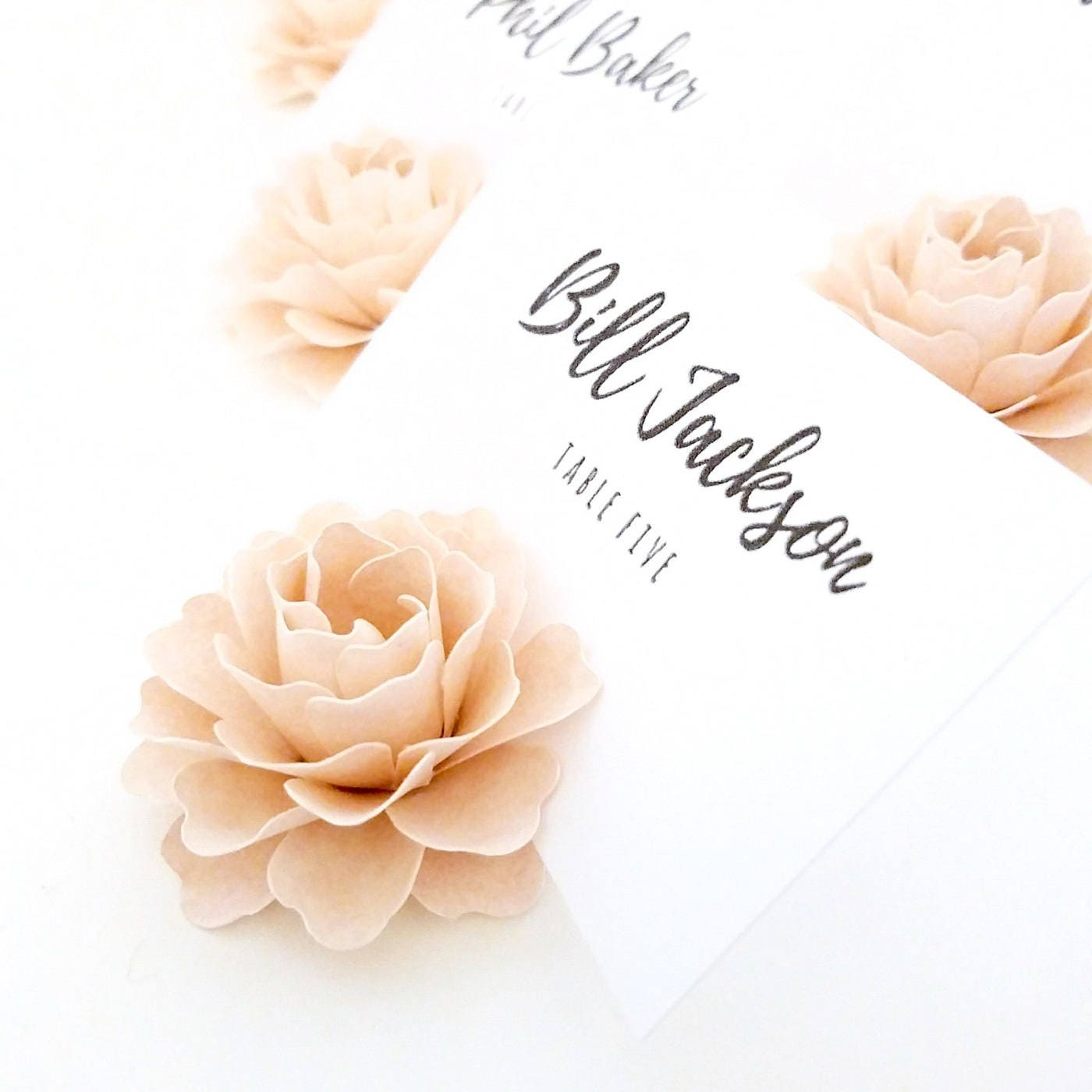 Place Card Holders 2 Ballet Pink Paper Flowers Escort