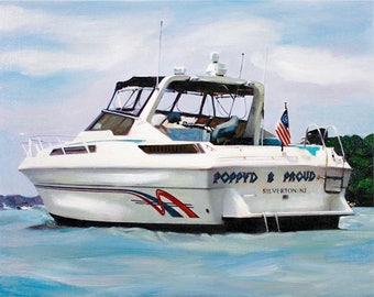 Custom Art - Yacht Boat Painting on Canvas from Photo - Personalized Gift