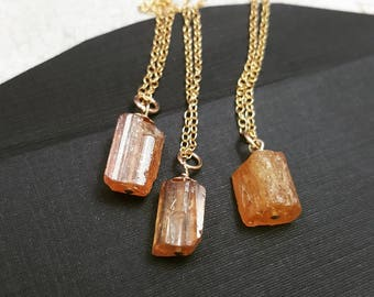 Raw imperial topaz necklace in silver or gold november raw imperial topaz necklace genuine gold topaz necklace november birthstone necklace raw gem aloadofball Image collections