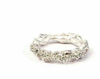 floating lichen textured organic sterling silver ring