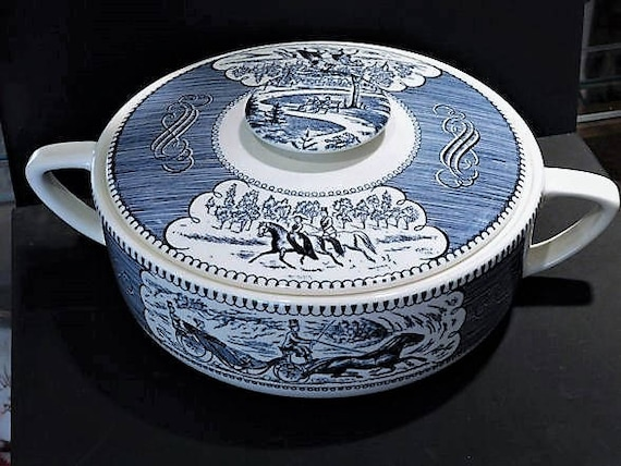 Currier and Ives Casserole Dish / The Road Winter
