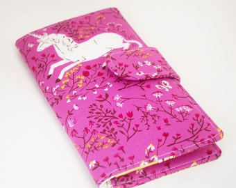 Womens Wallet, Vegan Wallet , Clutch Style, Wildflowers and Unicorns