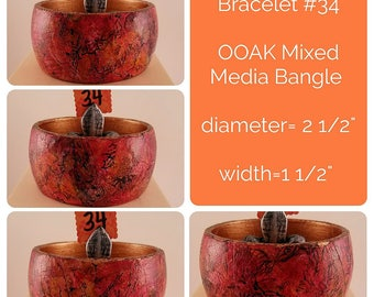 OOAK Art Bracelet #34 - Mixed Media Bangle