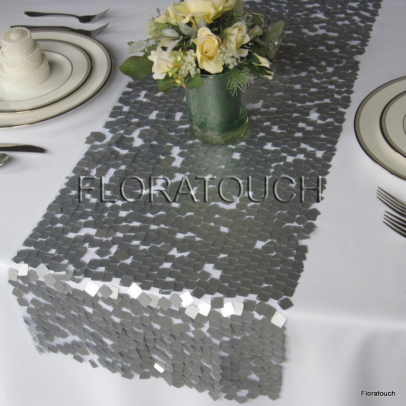 Preferred Dazzle Square Silver Sequin Table Runner Wedding Table Runner WO56