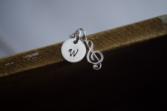 Music Note Necklace - Initial Necklace - Sterling Silver