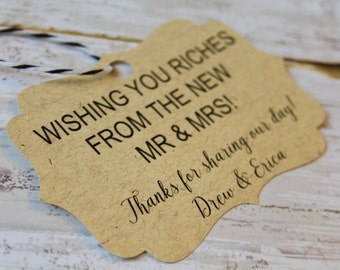 Wedding Favor Tag, Riches from the Mr and Mrs, Favor Tag, Gift Tag, Weddings