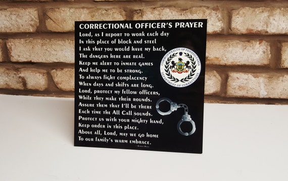 "Correctional Officer's Prayer 8""x 8"" - C.O. Prayer - Guard's Prayer - Correctional Officer Tribute - C.O. Retirement - Guard Retirement"