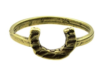 Birdhouse Jewelry  -  Tiny Gold Horseshoe Ring