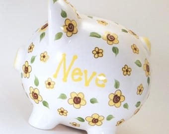 Sunflower Piggy Bank - Personalized Piggy Bank - Flower Girl Piggy Bank - Girls Piggy Bank - Gardening Bank - with hole or NO hole