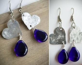 Hammered heart earrings, cobalt blue earrings, teardrop s, dangle earrings, silver earrings, handmade jewelry, blue earrings, glass earrings