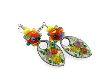 Colorful Lampwork Earrings, Multicolor Enamel Earrings, Gift for Her, Floral Drop Earrings, Glass Bead Jewelry, Artisan Earrings
