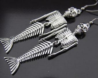 Mermaid Earrings Silver Skull Mermaid Skeleton Charm Dangle Earrings Skull Mermaid Earrings  Halloween Decoration
