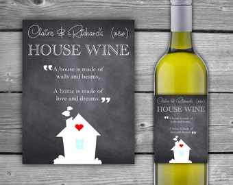 PRINTABLE - Custom - House Warming Gift Wine Label - Chalkboard - New Home Printable Wine Label - Housewarming Gift - DIY - 0054
