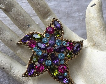 Vintage Starfish Brooch, Regency, Rhinestone, Signed, Costume Jewelry, Multicolor, Jewel Tones, KC029