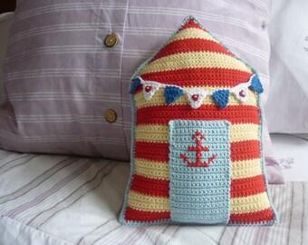 Beach Hut Cushion: A Crochet PDF Pattern