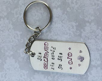 "Inspirational Quote Keychain - ""She believed she could so she did"""