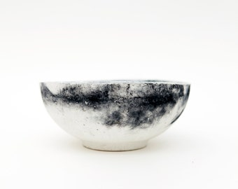 Large Black and White Concrete Bowl