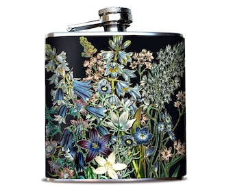 BEST SELLER Whiskey Botanicals Flask, Flask for Bourbon fan, Flask for woman, Gift for daughter, Something blue, Luxury gift for bride