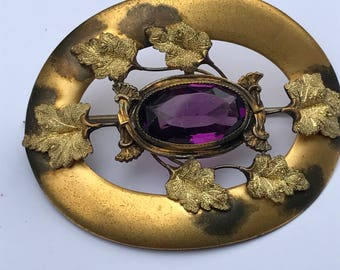 Art Nouveau Sash Pin Brooch  , Autumn  leaf  design , Amethyst Glass costume Victorian  Jewelry