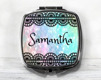 Personalized Compact Mirror - Stocking Stuffer - Gift For Her