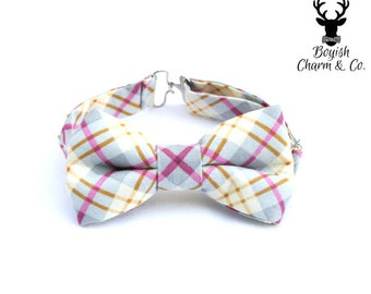 Boys Plaid Bow Tie, Grey and Pink Plaid Bow Tie, Gray Plaid Bowtie, Toddler Bow Tie, Wedding Ring Bearer, Cake Smash