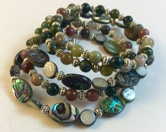 Abalone and Jasper Memory Wire Bracelet, Memory Wire Bracelet