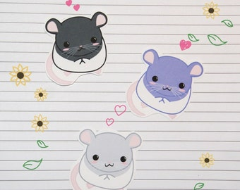 Chibi Hooded Rat Stickers and Magnets