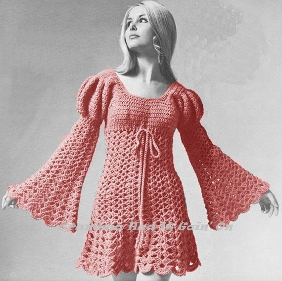 Crochet Pattern Vintage Ladies Juliet Style Dress 70s