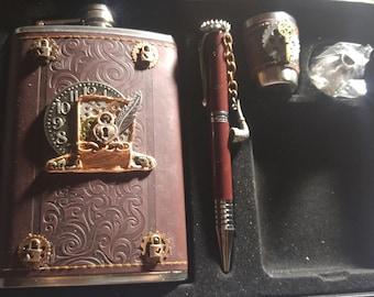 steampunk flask set