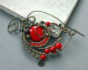 Brass Shawl pin,  Scarf pin, Ornate filigree Sweater pin, Wire Wrapped Pin Red Boho accessories,  brooch, cardigan clasp, fibula