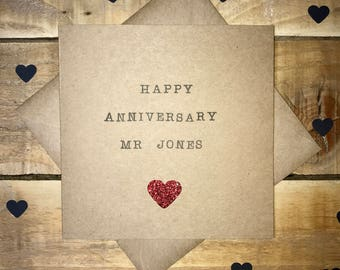 Handmade Personalised Anniversary Greetings Card