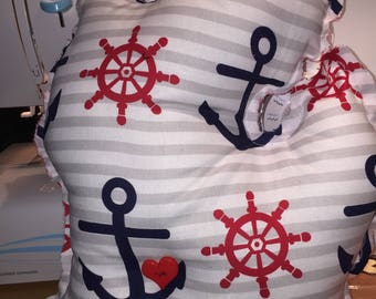 12 inch Red, White and Blue Anchor Michigan Pillow with Move-able Heart Button, GREAT Summer Gift!