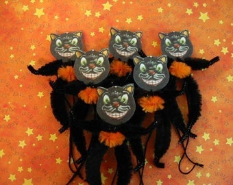 Vintage Style Feather Tree Black Cat Ornaments