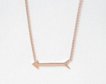 14k solid gold, arrow, Arrow necklace,sideways horizontal arrow, modern minimalist necklace, jewelry, solid gold necklace, gold pendant,