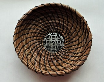 Trinket Basket Pine Needle Basket Dark Gray Pine Needle Trinket Basket Home Decor Basket For Him Basket For Her Native American Basket